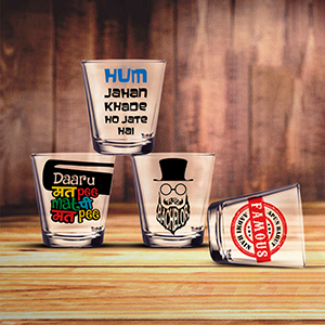 Pure Bachelor + Apun Bahut Famous + Daru Mat Pee + Hum Jahan Khade Shot Glasses Set of 4 - Shot Glass