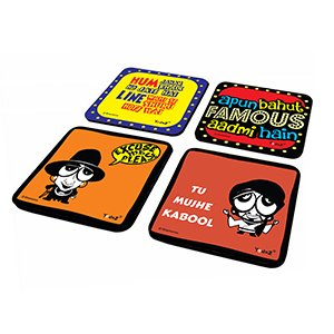 Caricature & Dialogue Combo Set of 4 - Coasters