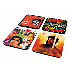 AAA and Khuda Gawah Combo - Set of 4  Rubber Coaster - Coasters