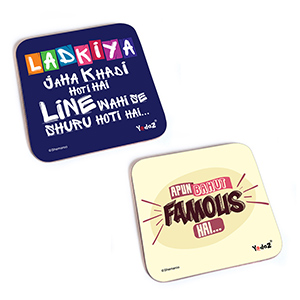 Bollywood Square Rubber Coaster - Women Collection 4 - Set of 2 (Apun Bahut Famous+Ladkiyan Jahan Khade Ho Jaate Hai) - Coasters