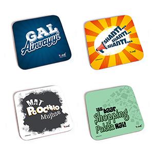 Bollywood Square MDF Coaster - Women Collection 7 - Set of 4 ( Gal Ainvayyi+Shanti Shanti Shanti+Mat Poocho Mujhse+Iss Baar Shopping Pakka - Coasters
