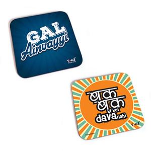 Bollywood Square MDF Coaster - Women Collection 8 - Set of 2 (Gal Ainvayyi+Bak Bak Ki Koi Daava Nahi) - Coasters