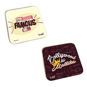 Bollywood Square Rubber Coaster - Women Collection 9 - Set of 2 ( Apun Bahut Famous+Bollywood ki Mallika ) - Coasters