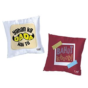 Yahan Ka Dada Hai Tu + Bahut Khoob 16 x16  Cushion Cover Set of 2 - Trendy Cushion Covers