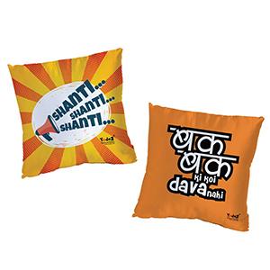 Bak Ki Dava Nahi + Shanti Shanti Shanti 16 x16  Cushion Cover Set of 2 - Trendy Cushion Covers