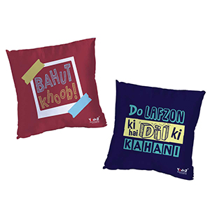 Do Lafzon Ki Cushion Cover + Bahut Khoob 16 x16  Cushion Cover Set of 2 - Trendy Cushion Covers
