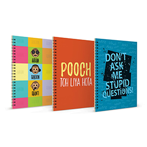 Aaram Sukoon Shanti + Pooch to Liya + Don't Ask Stupid Questions Notebook Set of 3 - Notebooks