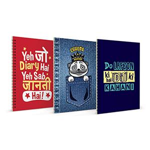 Yeh Jo Diary Hai + Chuppa Rustom + Do Lafzon Ki Notebook Set of 3 - Notebooks