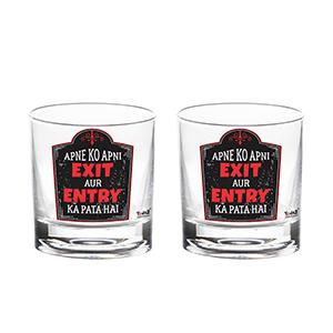 Apne Ko Apni Exit Aur Entry Ka Pata Hai Whisky Glass - Set of 2 - Whisky Glasses