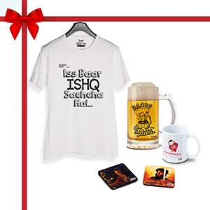 Ishq wala combo, T-Shirt, 1 Beer Mug, 1 Coffee Mug1, Coaster 2 (Combo of 5)  - Super Combos