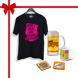 Kadak Combo, T-Shirt, 1 Beer Mug, 1 Coffee Mug1, Coaster 2 (Combo of 5)  - Super Combos