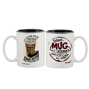 Yahan Mug Ki Keemat Hain + Chai Sutta Sets Of 2 - Coffee Mugs