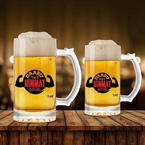 Daru Peene Se Himmat Aati Hai Beer Mug Set Of 2 - Beer Mugs