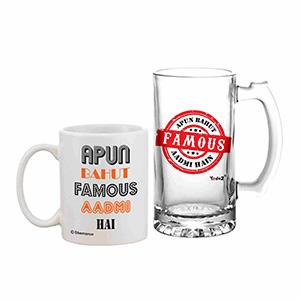 Apun Bahut Famous Aadmi Hai Beer Mug & Coffee Mug Combo Set - Beer Mugs